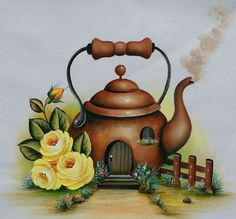 Tea pot house drawing in color Tole Painting, Fabric Painting, Painting & Drawing, Tee Kunst, Folk Art Flowers, Country Paintings, House Drawing, Tea Art, Drawing For Kids