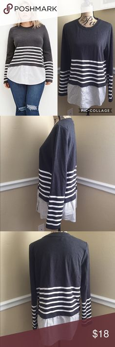 Forever21+ Top This is a Forever21+ size XL top. It is sweater material & has a blouse on bottom. It is one with a 2 layer look. It has charcoal grey & white colors with white stripes, new with tags. Forever 21 Tops