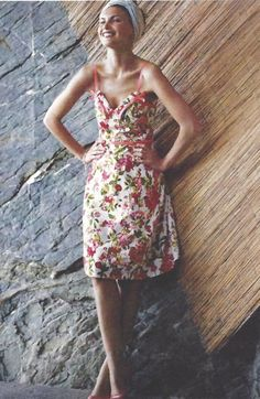 18cd78871d39a Rare Anthropologie 2004 Elevenses Beach Rose Dress Sundress 6 Retro 50s  Pinup