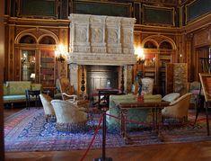 #TheBreakers Library - The Breakers, #Newport. Decor by Jules Allard and Sons for Cornelius #Vanderbilt II. #historic #mansions #mansion #gildedage #art #architecture #luxury #interiordecoration  #interiordesign #decor #julesallard #RhodeIsland