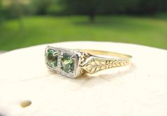 Art Deco Green Tourmaline Ring Beautiful Color and by Franziska