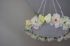 This beautiful lace floral mobile will be the perfect touch to any nursery. A mix of white, like pink, pastel yellow and pastel purple flowers. Pastel Purple, Purple Flowers, Pink, The Perfect Touch, Floral Wreath, Nursery, Wreaths, Lace, Etsy