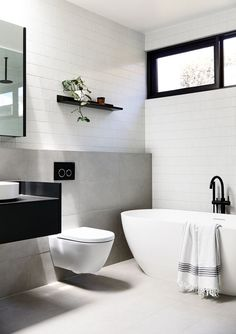 One of our popular tiles InaxJapan Yohen Border as feature walls in the Blairgowrie House bathroom By studiotomdesign plannedlivingarchitects natjstyling Build madebuild Images derek_swalwell moderndesignbathrooms Laundry In Bathroom, Bathroom Inspo, Bathroom Renos, Bathroom Faucets, Bathroom Inspiration, Bathroom Ideas, Bathroom Bin, Bathroom Wall Tiles, Black Bathroom Taps