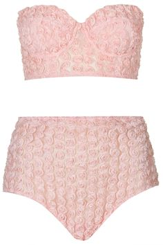 Bustier avec rose 3D et culotte taille haute - topshop