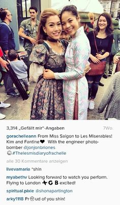Eva Noblezada as Kim and Rachelle Ann Go as Fantine. Two talented and beautiful girls <3