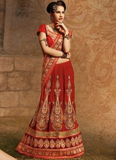 Bollywood Saree Sari Beguiling Red Velvet by JTInternational Lehenga Choli Designs, Ghagra Choli, Lehenga Style Saree, Red Lehenga, Bridal Lehenga, Saree Wedding, Indian Lehenga, Wedding Wear, Wedding Attire