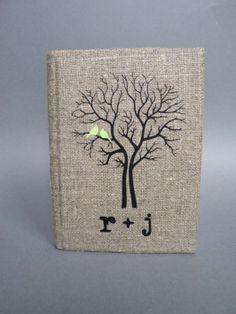Wedding Rustic Guest Book Burlap Linen $49  Very nice!!!!  k + e <3