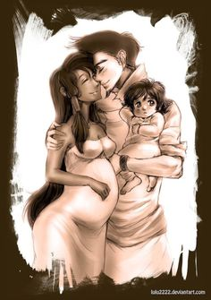 Mako and Korra with their family <3