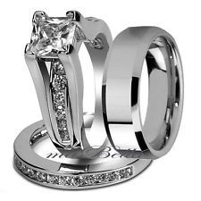 Nice 3 Pcs Hers Stainless Steel & His Tungsten Wedding Engagement Ring Band Set