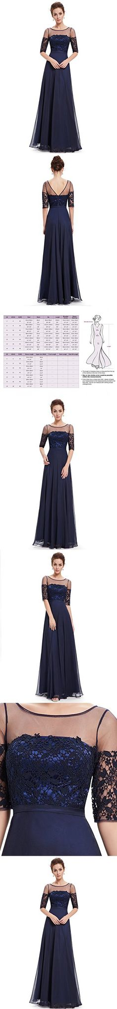 3c6c3bd53ce Ever Pretty Womens Floor Length Sexy Illucion Neckline Prom Dress 16 US  Navy Blue