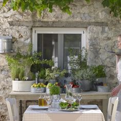 """Indulge in fine Greek and Mediterranean cuisine"" Atrium Hotel Skiathos, Fine Dining, Botanical Gardens, Natural Stones, Table Settings, Greek, Hotels, Herbs, Patio"