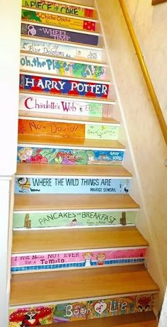 Book stairs Painted my staircase of my families favorite books. Piece of cake Stairs Design Modern Book Books Cake families Favorite Painted Piece staircase Stairs Deck Stair Lights, Diy Stair Railing, Stair Art, Railings, Book Staircase, Staircase Design, Staircase Ideas, Rustic Stairs, Modern Stairs