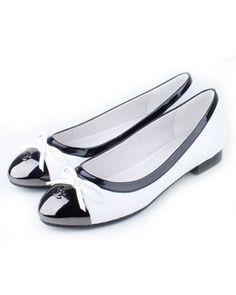 Chanel Flats White Sheepskin Bowknots 8106