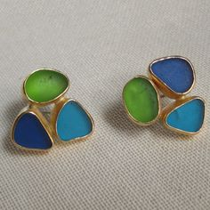 Lisa Hall Jewelry Seaglass RARE Turquoise Cluster Earrings in 14 KT Gold #MarthaStewart #AmericanMade