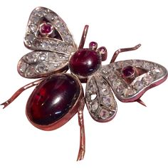 Antique 9K Rose Gold Diamond Ruby and Garnet Bee Brooch for sale with Corvidae Antique on Ruby Lane