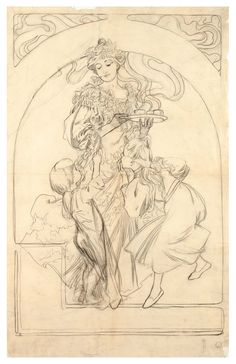 Design for the poster Chocolat Idéal.1897. Pencil, tracing paper. 82.7 x 56.8 cm. National Gallery in Prague. Czech Republic. Art by Alphons Mucha.(1860-1939).