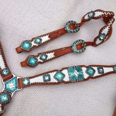 White breast collar with turquoise bling