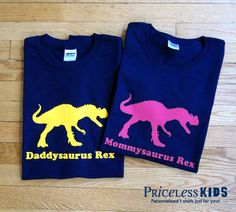 Daddy dinosaur and mommy dinosaur t shirt set, personalized adult dinosaur tshirt combo. All 4 of us with dinosaur shirts :) Dinosaur Birthday Party, 4th Birthday Parties, Birthday Fun, Birthday Ideas, Dinasour Birthday, Dinosaur Shirt, Third Birthday, Personalized T Shirts, Daddy
