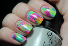 I used a fan nail art brush to apply the neon colors to my nails.