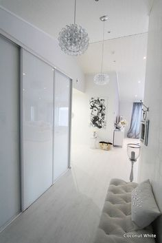 Modern Interior, Interior Design, Hallway Inspiration, Sliding Wardrobe Doors, Wardrobe Cabinets, White Bedroom, Home Lighting, New Homes, House Design