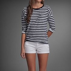 Abercrombie and Fitch   striped tee and white shorts, simple and cute!