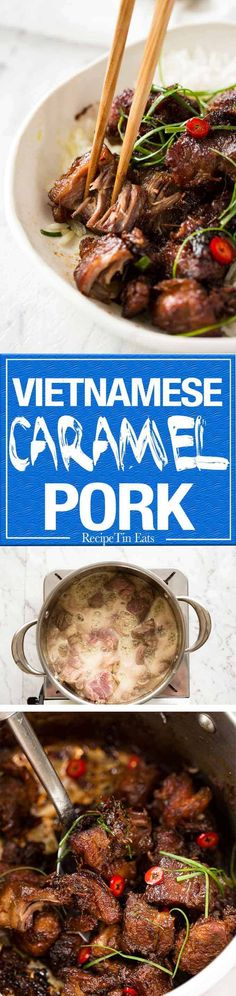 Caramel Pork A simple, magical recipe - tender pork in a sweet savoury glaze and no hunting down unusual ingredients! A simple, magical recipe - tender pork in a sweet savoury glaze and no hunting down unusual ingredients! Pork Recipes, Asian Recipes, Cooking Recipes, Asian Pork, Instant Pot, Recipetin Eats, Recipe Tin, Pork Dishes, Asian Cooking