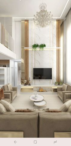 High Ceiling Living Room, Living Room Tv, Exterior Wall Design, Home Interior Design, Minimalist House Design, Modern House Design, Tv Wall Decor, Aesthetic Room Decor, Living Room Designs