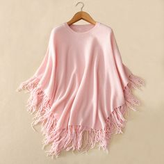 100% pure cashmere shawl women's fashion knitting long poncho scarf O-neck solid color tassel autumn/winter
