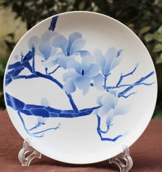 Items similar to Handmade in Jingdezhen Blue and White Painted Porcelain Display Collectable Plate - Mengya Zhang on Etsy Tea Canisters, Chinese Design, Tea Caddy, Ceramic Painting, Ceramic Plates, Artisan, Handmade Items, Things To Come, Blue And White