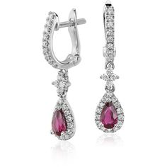 Blue Nile Ruby and Diamond Drop Earrings (1,605 CAD) ❤ liked on Polyvore featuring jewelry, earrings, diamond earrings, 14k diamond earrings, 14 karat gold jewelry, blue nile jewelry and drop earrings