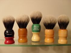 Shaving brushes - looks like our bathroom...hubby has gone back to a safety razor, brush and shaving mug. Buys his blades from Israel...costs him 10 cents a shave now!