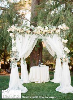 Anemones, Hydrangea, Silver Dollar Eucalyptus, Garden Roses, Astilbe, Hanging Amaranthus, Privet, Fern, Majolica. #gardeninspired #romantic #amyburkedesigns #zoelonergan