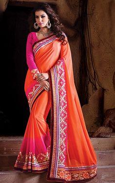 Picture of Decorous Orange Party Wear Sari Online