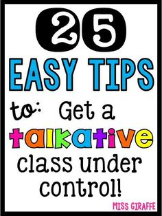 Have a chatty class? Do your talkative students get louder and louder during small groups until it feels like chaos? Do they talk when you're talking then ask you what the directions were as soon as y