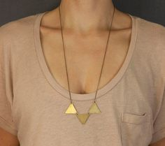 Simple Pennant Necklace //  Geometric Brass Triangle Necklace  //  Brass Bunting Necklace  //  Choose your length //  PYRAMIDS Necklace on Etsy, $24.00