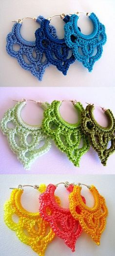 Crochet Earrings- gorgeous, must try! Use embroidery floss to get a lovely array of colours and shades Crochet Earrings- gorgeous, must try! Use embroidery floss to get a lovely array of colours and shades Crochet Diy, Love Crochet, Crochet Crafts, Yarn Crafts, Crochet Projects, Crochet Summer, Thread Crochet, Embroidery Thread, Crochet Flowers