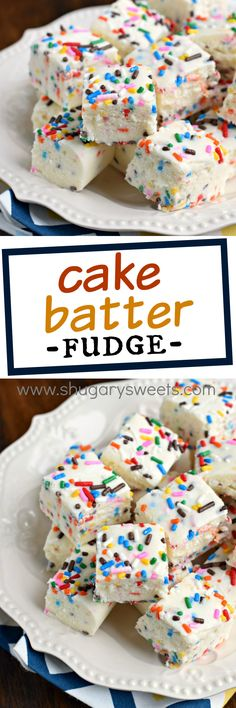 Cake Batter Fudge: and easy, white chocolate fudge recipe with yellow cake mix and sprinkles! Cake Batter Fudge: and easy, white chocolate fudge recipe with yellow cake mix and sprinkles! Cake Mix Recipes, Fudge Recipes, Candy Recipes, Sweet Recipes, Baking Recipes, Cookie Recipes, Dessert Recipes, Freezer Recipes, Bar Recipes