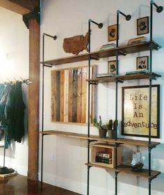 Diy pipe bookshelf. #pipefurniture #diy #industrial #loft #iloveindy #homedecor…