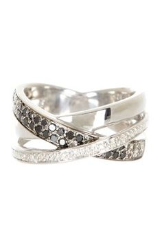 Crisscross Black & White Diamond Ring - 0.25 ctw