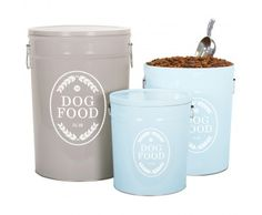Harry Barker Swedish Farmhouse Dog Food Storage Canister.  Think I can do this out of a metal garbage can,paint it, and stencil or transfer.
