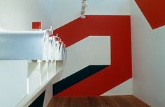 The Sea Ranch's men's locker room, designed by Barbara Stauffacher Solomon (1966) Supergraphics — Transforming Space: Graphic Design for Walls, Buildings & Spaces