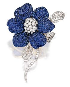 fd2f92086 18 Karat Two-Color Gold, Sapphire and Diamond Flower Brooch, Aletto  Brothers How