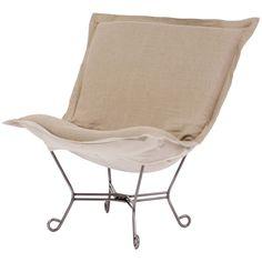 Howard Elliott Prairie Linen Natural Scroll Puff Chair with Titanium Frame
