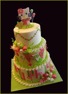 Hello Kitty cake, so many individual elements of this that I like Hello Kitty Cake Design, Hello Kitty Fondant, Hello Kitty Theme Party, Hello Kitty Birthday Cake, Cool Birthday Cakes, Birthday Ideas, 2nd Birthday, Cute Baking, Girly Cakes