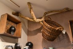 Neat idea for hanging baskets or lanterns, a branch screwed to ceiling