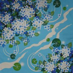 Small Size Cotton 'Lily Pads and Blue Hydrangea' Motif Furoshiki Fabric Piece w/Free Insured Shipping