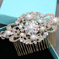 Faux Pearl Yellow Gold Wedding Headpiece Bridal Hair Comb Crystal Accessories #goldcomb #pearlcomb