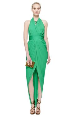 Halston Green Chifon Halter Gown by New York Vintage / VINTAGE HALSTON, YES LAWD