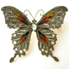 Huge Vintage Enameled Marcasite Sterling Butterfly Brooch from Art Nouveau Collection Exclusively on Ruby Lane