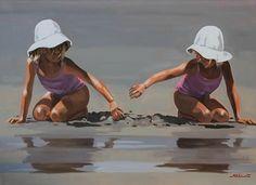 Painting People, Figure Painting, Illustrations, Illustration Art, Art Plage, Water Art, Beach Scenes, Ocean Art, Pictures To Paint